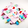 FREE POST * CUPCAKE TOSS  Baby Security Blankie Taggie Toy + Taggie Saver