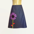 Denim A Line Skirt with applique flower Ladies sizes 10 & 14 avail