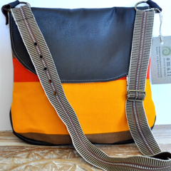 Medium, Upcycled, Vintage, Retro, Faux Leather Messenger with adjustable strap