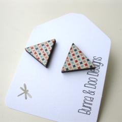 Geometric Triangle Wood Earrings.