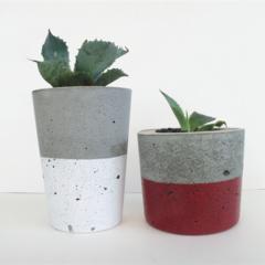 DUO - Concrete Upright Succulent Planter Set - Urban Decor