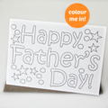 Happy Father's Day Colour In Card, Dad, Grandad, Daddy, Opa, For Him