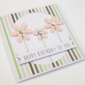 Handmade Birthday Card - Happy Birthday to you - Sky Pale Pink Glitter Flowers