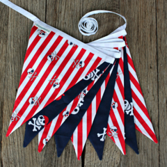 Pirate Bunting - Navy Red