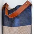 Large,Leather, Denim, Vintage, Blue, Earthy Upcycled Shoulder, Bucket Bag