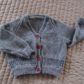 Size 2-3 years; Hand knitted cardigan in grey & dark blue with red buttons: OOAK