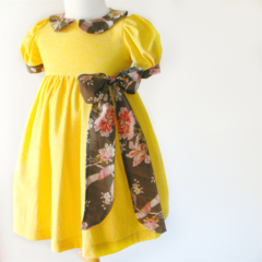 Sunday Best Dress - size 5 - butter yellow with brown and pink floral bow