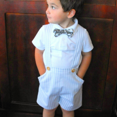Boys Pants with Braces - Grey and Ivory Stripe - Size 2