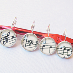 Music Stitch Markers Treble Clef Bass Notes Symbol Silver Musical Crochet Knit