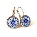 Earrings - Retro floral in blue & black - Vintage patterns in resin