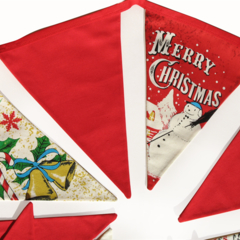Christmas Bunting - Red Traditional Style Flags. Xmas Snowman Banner, Decoration