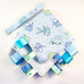 BLUE NURSERY BABY TOYS Security Blanket Blankie Taggie Toy +FREE Taggie Saver