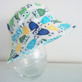Boys summer hat in bright owl fabric-spoiled