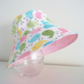 Girls cute summer hat in spring birdie fabric