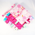 LITTLE BABY ANIMAL FRIENDS ~ PINK  ~  Baby Security Taggie  + FREE Taggie Saver