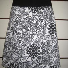 Black & White Flower  Skirt with Bamboo Stretch Waist
