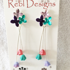 Hand Coloured Flower Studs in Turquoise green Purple and pink