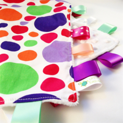 FUNKY POLKADOTS Baby  Security Blanket Blankie Taggie Toy + Free Taggie Saver