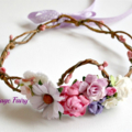 Princess flower crown .. Vintage Fairy