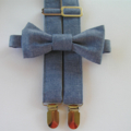 Light blue denim suspenders and bow tie - party clothes, formal, cake smash