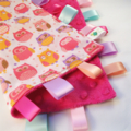 PINK HAPPY OWLS -  Baby Security Blanket Blankie Taggie Toy