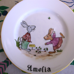 Small Royal Doulton Plate, present for a child - hand painted rabbits