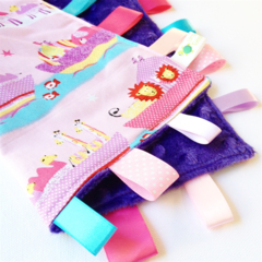 * FREE POST * PINK NOAH'S ARK 2 BY 2  - Baby Security Blanket Blankie Taggie Toy