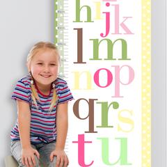 (Alphabet Personalised Fabric Height Chart)  30x106cm