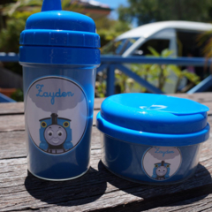 Personalized Blue Lid Sippy cup & Snack container set