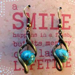 Blue Howlite Stone in Brass Twist Earrings
