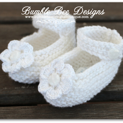 100% White Cotton Hand Knitted Mary Jane Booties with White Crochet Flower