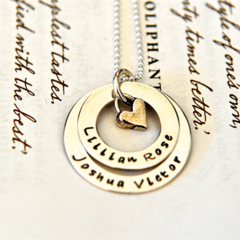 Mother Hand Stamped Layered Washer Necklace Childrens Names Artisan Heart