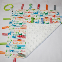 Little blanket - tactile sensory with ribbons around edge