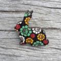 Wooden Brooch - Bunny Rabbit. Floral on black.
