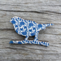 Wooden Brooch - painted. Bird on Branch.  Floral.