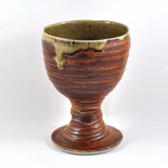 Wine Goblet Handmade Pottery Orange Brown Stoneware Ceramic