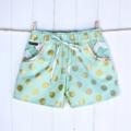 Sassy Shorts by Twinkle Star (Mint Glitz) ~ Metallic gold, polkadot, chevron