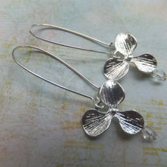 Silver Flower & Raindrop Earrings