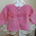 Hand Knit, 6-12m, Baby Wool Lace Jacket Cardigan, Musk Pink, Rosebuds