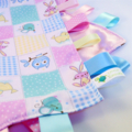 PINK PATCHWORK HOOTY OWLS  Security Blanket Blankie Taggie Toy + Taggie Saver