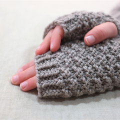 Tween fingerless gloves - taupe grey / soft merino wool / 8-12 years