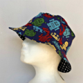 Blue Robot and Stars Reversible Bucket Hat - boys sizes 6 mths - 8 yrs
