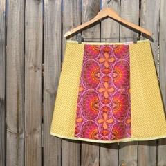 Raspberry & yellow gingham A line skirt