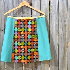 Circles & jade A line panel skirt