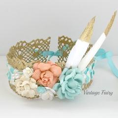 Glitz lace flower crown by Vintage fairy