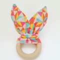 Wooden teething ring bunny ear geometric multicolour