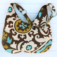 Hobo Bag in Brown, White and Blue Suzani Fabric