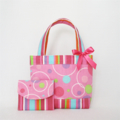 Mini Tote Bag & Purse - Pink Circles