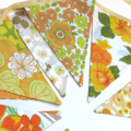 Vintage Bunting - Retro Orange / Yellow TROPICAL SUMMER MULTI Floral Flags.