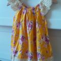 Yellow cabbage rose summer dress sz 0